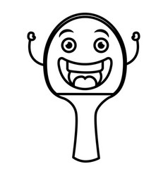 ping pong racket kawaii character vector image