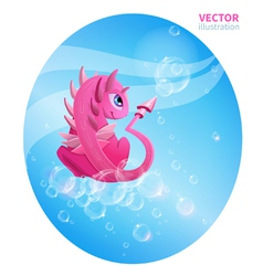 Pink dragon with bubbles vector