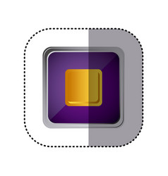 purple emblem stop button vector image