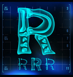 R letter capital digit roentgen x-ray vector