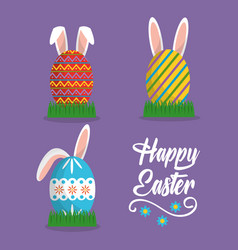 rabbit ears painted eggs happy easter card vector image