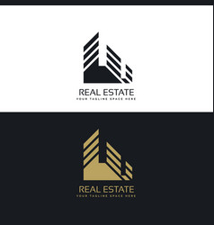 real estate logo design in minimal style vector image