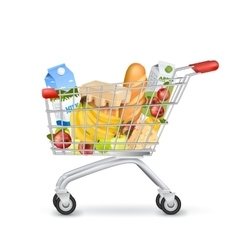 Realistic Supermarket Trolley Full Of Items vector
