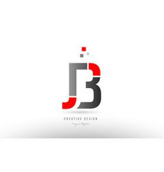 Red grey alphabet letter jb j b logo combination vector