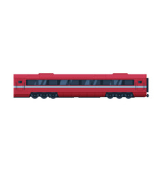 red modern train passenger wagon railroad vector image