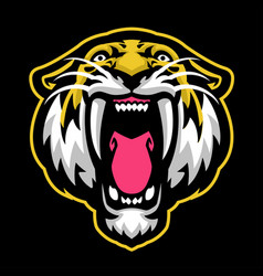 roaring sabretooth mascot vector image