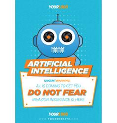 Robot flyer poster template vector