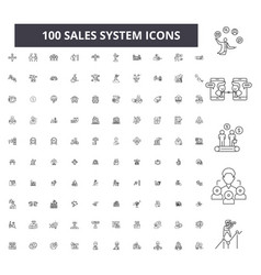 sales system editable line icons 100 set vector image