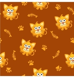Seamless pattern square cat and fish vector image