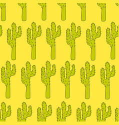Seamless pattern with cactuses - design vector