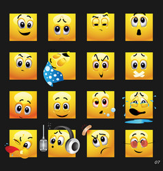 Set of face icons vector