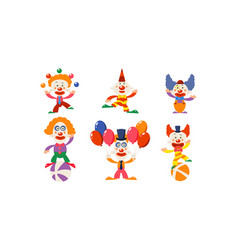 set of funny clowns in different actions cartoon vector image