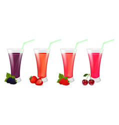 set of glasses with juice of berries vector image