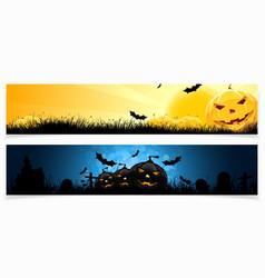 Set of Horizontal Halloween Banners vector image