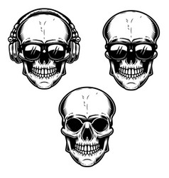 set of the human skulls skull with headphones and vector image