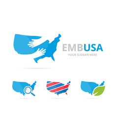 Set of usa logo combination america and embrace vector