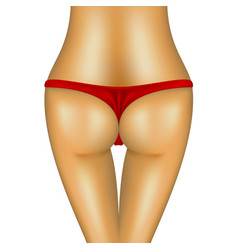 Sexy bum of woman in red bikini vector