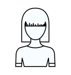 Sketch silhouette of faceless half body young vector