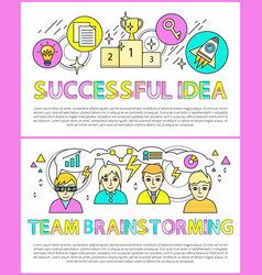 successful idea and brainstorming team color cards vector image