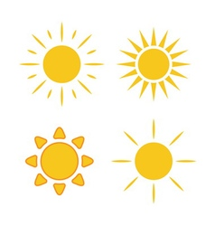 Sun icons set white light vector image