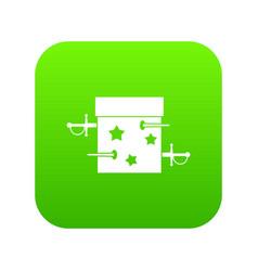 Sword box icon digital green vector