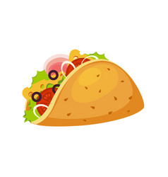 Taco wrap with tortilla ham and vegetables vector
