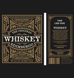 Vintage liquor labels front and back side vector