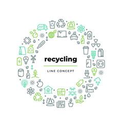 Waste recycle line concept zero environment vector