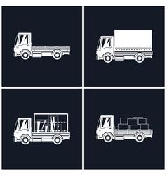 White silhouette small trucks vector