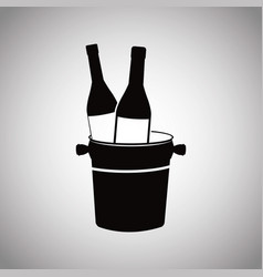 Wine bottles with bucket image vector