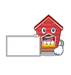 With board chicken coop isolated in mascot vector
