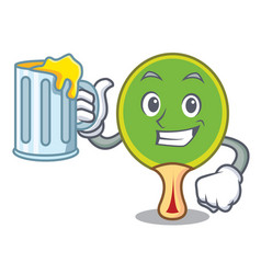 with juice ping pong racket mascot cartoon vector image