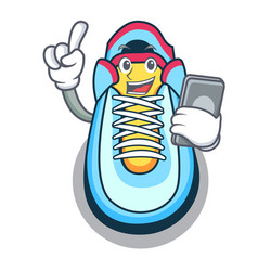 With phone classic sneaker character style vector