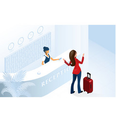 woman tourist arriving at modern hotel lobby vector image