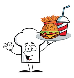 Chef Hat Guy Serving Fast Food vector image