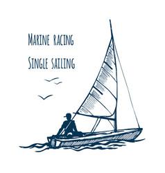 marine siling race single seaway vector image vector image