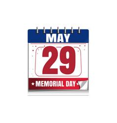 memorial day calendar 2017 29 may vector image vector image