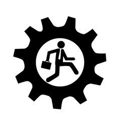 monochrome gear frame with man and executive vector image