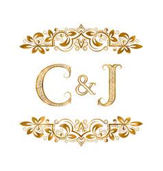 c and j vintage initials logo symbol letters c vector image