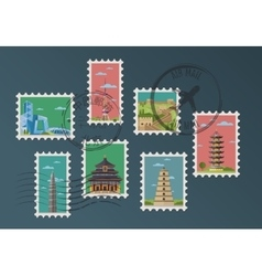 Chinese postage stamps and postmarks vector image vector image
