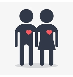 couple with heart in love vector image vector image