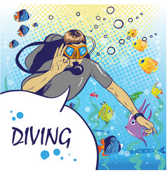 diver under water with aqualung pop art style vector image