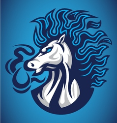 Horse fire blue logo vector