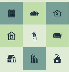 set of simple real icons vector image