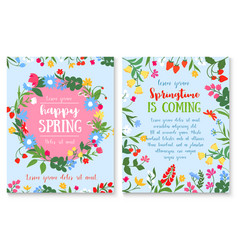 spring holiday poster with flower and berry wreath vector image