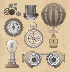 Vintage steampunk design elements vector image vector image