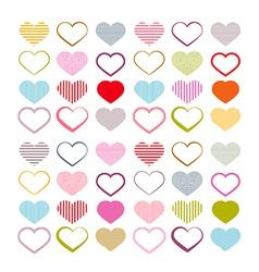 Colorful heart set red valentine symbols vector