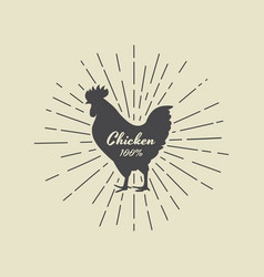 lettering within silhouette of chicken vector image