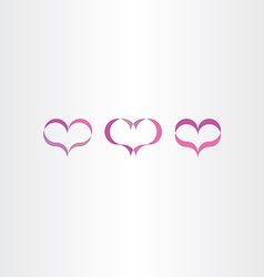 purple heart icons set love symbol vector image vector image