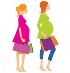 walking pregnant girls vector image